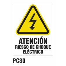 Cartel riesgo choque eléctrico