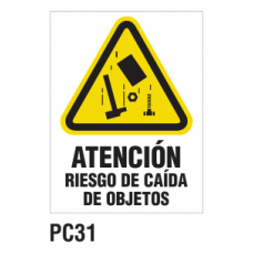 Cartel riesgo caída de objetos