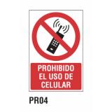 Cartel prohibido el uso de celular