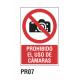 Cartel prohibido el uso de cámaras