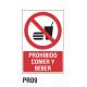 Cartel prohibido comer y beber