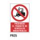 Cartel prohibido el tránsito vehículos industriales