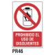 Cartel prohibido el uso de disolventes