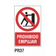 Cartel prohibido empujar