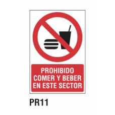 Cartel prohibido comer y beber en este sector