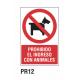 Cartel prohibido el ingreso con animales