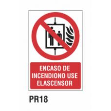 Cartel en caso de incendio no use ascensor