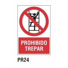 Cartel prohibido trepar