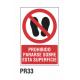 Cartel prohibido pasar sobre superficie
