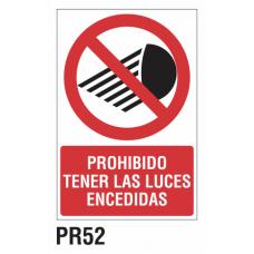 Cartel prohibido tener las luces encendidas