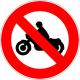Cartel prohibido circular moto