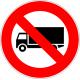 Cartel prohibido circular camión