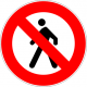 Cartel prohibido circular peatón