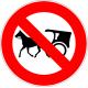 Cartel prohibido circular tracción a sangre