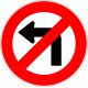 Cartel no girar a la izquierda