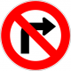 Cartel no girar a la derecha