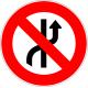 Cartel prohibido cambiar de carril