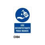 Cartel use desinfectante para manos