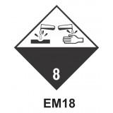 Rótulo de riesgo clase corrosivo 8